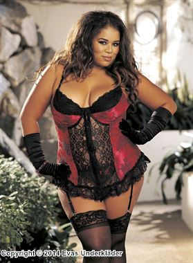 Broderad bustier, plus size, 1